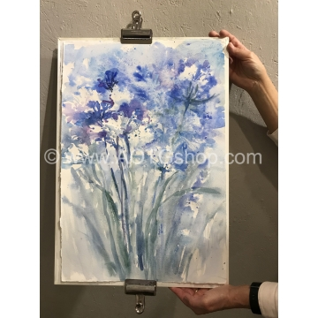 """Blue Bouquet"" Original Watercolor by Sonja Hamilton (Local Pick-Up Only)"