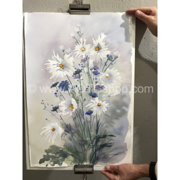 """Daisies and Bachelor Buttons"" Original Watercolor by Sonja Hamilton (Local Pick-Up Only)"