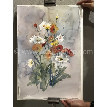 """Hot Zinnias and Shasta Daisies"" Original Watercolor by Sonja Hamilton (Local Pick-Up Only)"