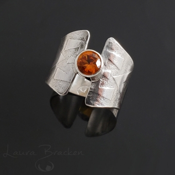 Sterling Silver Ring with Orange Stone by Laura Bracken (Available for Shipping or Local Pick-Up)