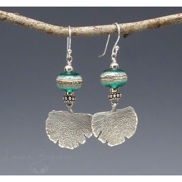 Sterling Silver Ginkgo Leaf and Lampwork Earrings by Laura Bracken (Available for Shipping or Local Pick-Up)