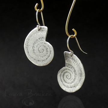 Sterling Silver Nautilus Imprint Earrings by Laura Bracken (Available for Shipping or Local Pick-Up)