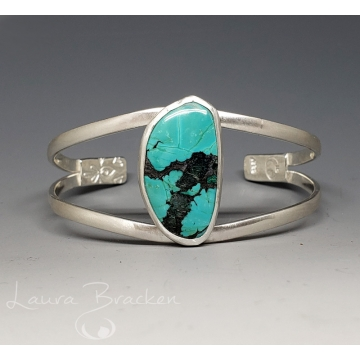 Turquoise and Sterling Silver Cuff Bracelet by Laura Bracken (Available for Free U.S. Shipping or Local Pick-Up)