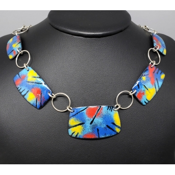 Colorful Enamel and Sterling Silver Necklace by Laura Bracken (Available for Free U.S. Shipping or Local Pick-Up)