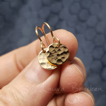 Small Lightweight 14k Gold Fill Hammered Disk Earrings by Laura Bracken (Available for Free Shipping or Local Pick-Up)