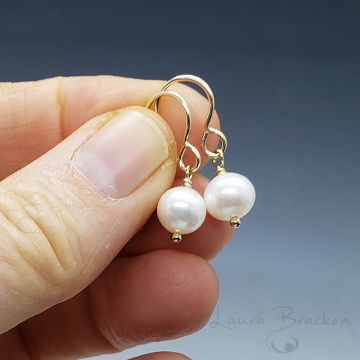 Lightweight Pearl and Gold Earrings by Laura Bracken (Available for Free Shipping or Local Pick-Up)