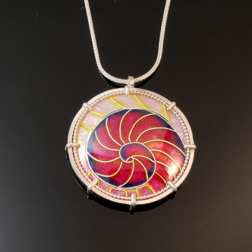 Pink Nautilus Cloisonné Enamel Pendant by Laura Bracken (Available for Free U.S. Shipping or Local Pick-Up)