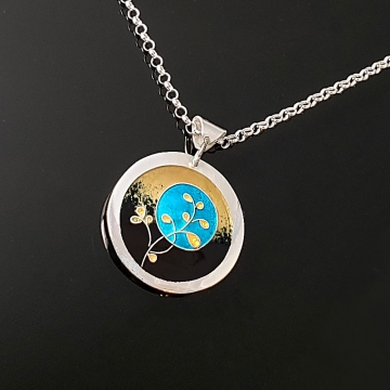 Gold Berries with Blue Moon Cloisonné Enamel Pendant by Laura Bracken (Available for Free U.S. Shipping or Local Pick-Up)