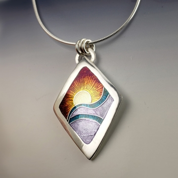Sun on Horizon Cloisonné Enamel Pendant by Laura Bracken (Available for Free U.S. Shipping or Local Pick-Up)
