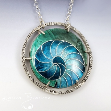 Blue Nautilus Cloisonné Enamel Pendant by Laura Bracken (Available for Free U.S. Shipping or Local Pick-Up)
