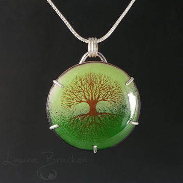 Enamel Tree of Life Pendant Necklace by Laura Bracken (Available for Free US Shipping or Local Pick-Up)