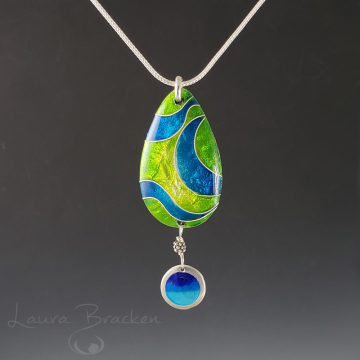 Blue Green Cloisonné Enamel Pendant Necklace by Laura Bracken (Available for Free US Shipping or Local Pick-Up)