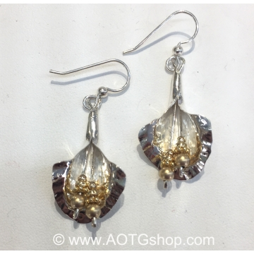 Silver Lilies with Gold-Filled Beads Earrings by Meg Black-Smith (Available for Shipping or Local Pick-Up)
