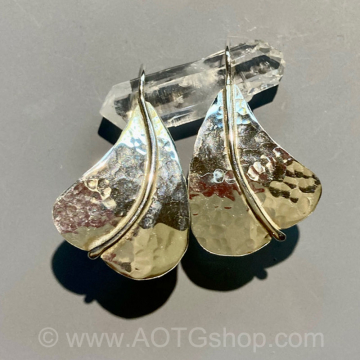 """Sterling Hammered Earrings """"Sailboats"""" by Meg Black-Smith (Available for Shipping or Local Pick-Up)"""