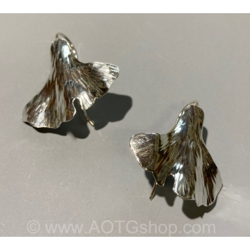 Sterling Silver Ginkgo Leaf Earrings by Meg Black-Smith (Available for Shipping or Local Pick-Up)