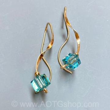 Light Turquoise Crystal Curliques Gold-Filled Earrings by Meg Black-Smith (Available for Shipping or Local Pick-Up)