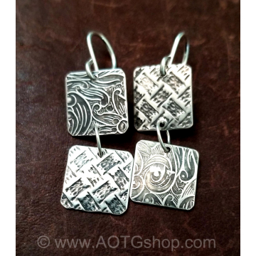 Abstract Two Square Earrings Handmade by Stacey Lamothe (Available for Shipping or Local Pick Up)