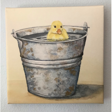 """""""Pail Play, Ducking""""  Canvas Print  by Diane Tharp (Available for Shipping or Local Pick-Up)"""
