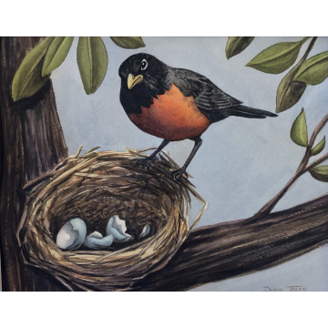 Empty Nest Original Matted Watercolor by Diane Tharp (Available for Shipping or Local Pick-Up)