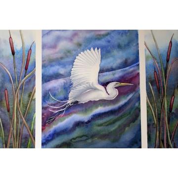 "Large Matted Giclée of Watercolor Painting ""Egret Triptych"" by Diane Tharp (Available for Shipping or Local Pick-Up)"