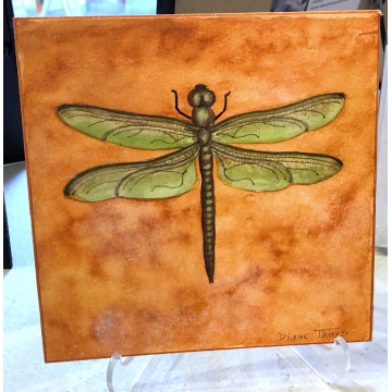 Orange Dragonfly Original Watercolor Painting by Diane Tharp (Available for shipping or local pick-up )