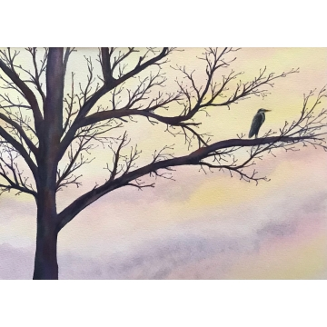 "Matted Original Watercolor Painting ""Lone Heron"" by Diane Tharp (Available for Shipping or Local Pick-Up)"