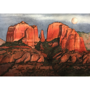 "Matted Original Watercolor Painting ""Cathedral Rock, Sedona"" by Diane Tharp (Available for Shipping or Local Pick-Up)"