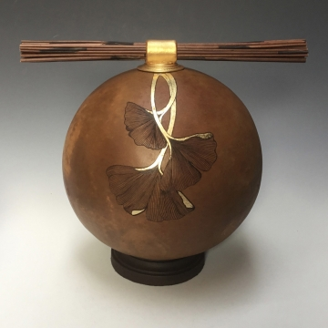Ginkgo Reed Topped Gourd Vessel by Louise McGowan Bezark (Local Pick-Up Only)