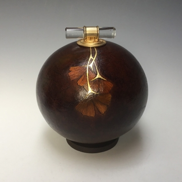 Little Leather Look Ginkgo Gourd by Louise McGowan Bezark (Local Pick-Up Only)