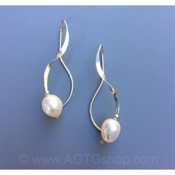 Freshwater Pearl Curliques Earrings by Meg Black-Smith (Available for Shipping or Local Pick-Up)