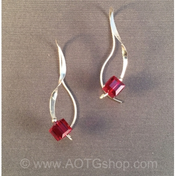 Red Xtl Curliques Argentium Silver Earrings  by Meg Black-Smith (Available for Shipping or Local Pick-Up)
