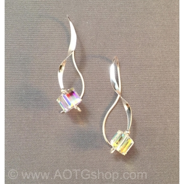 Sterling Curls Crystal Earrings by Meg Black-Smith (Available for Shipping or Local Pick-Up)