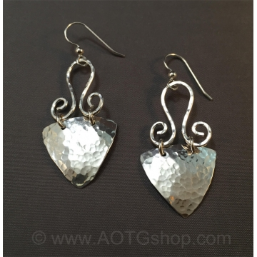 Triangular Hammered Dangle Earrings in Sterling Silver by Meg Black-Smith (Available for Shipping or Local Pick-Up)