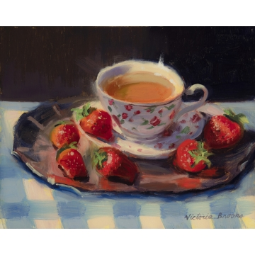 Strawberry Tea Original Oil on Linen by Victoria Brooks (Local Pick-Up Only)