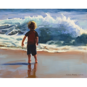 Surfer Boy Giclee Print on Canvas by Victoria Brooks (Local Pick-Up Only)