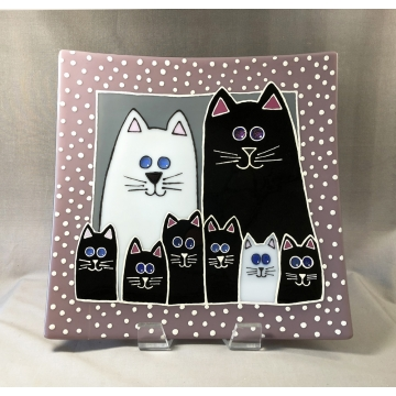 Kitty Family Plate Fused Glass by Judy Butler (Local Pick-Up Only)