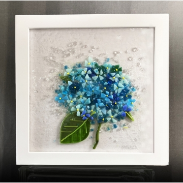 Hydrangea Fused Glass Wall Art by Judy Butler (Available for Shipping or Local Pick-Up)