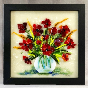 Fused Glass Poppies by Judy Butler (Available for Shipping or Local Pick-Up)