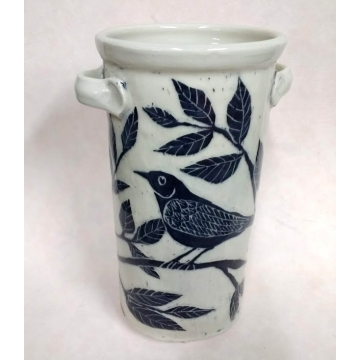 Oval Bird Vase with Handles by Mary Cargile (Local Pick-Up Only)