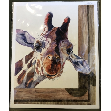 "Giraffe Giclée Print on Paper ""ANYBODY HOME?"" by Sandy Delehanty (Local Pick-Up Only)"