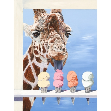 "Giraffe Giclée Print on Canvas ""Scooped"" by Sandy Delehanty (Available for Shipping or Local Pick-Up)"