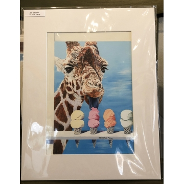 """Giraffe Giclée Print with Mat """"SCOOPED"""" by Sandy Delehanty (Local Pick-Up Only)"""