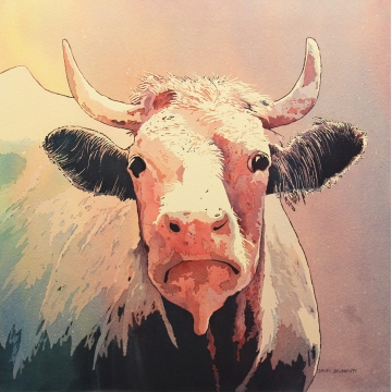 "Whimsical Cow Giclee Print on Panel ""Mademoiselle Moo"" by Sandy Delehanty (Local Pick-Up Only)"