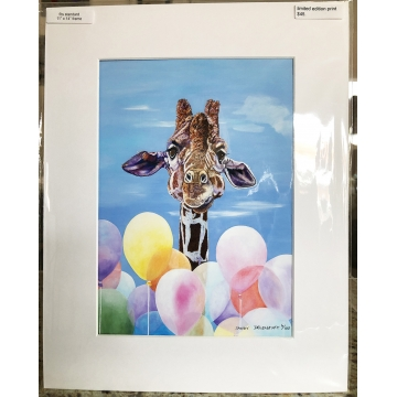 "Giraffe Giclee Print with Mat ""RISING TO THE OCCASION"" by Sandy Delehanty (Local Pick-Up Only)"