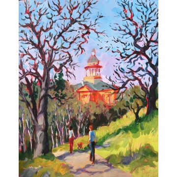 Courthouse, View from the Park by Original Acrylic by Patty Pieropan Dong (Local Pick-Up Only)