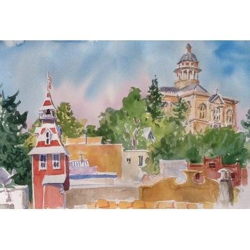 Old Town Rooftops Original Watercolor by Patty Pieropan Dong (Local Pick-Up Only)