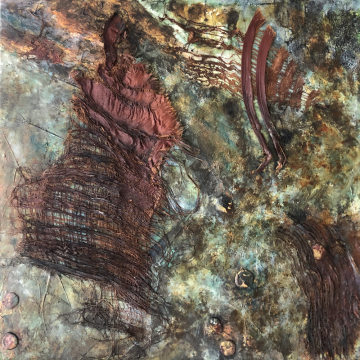 Cosmos - Abstract Mixed Media with Acrylic, Textures & Palm Foliage -  Original Abtract by Gia McNutt (Available for Shipping or Local Pick-Up)