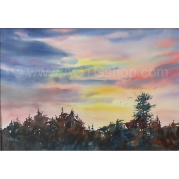 """Sierra Sunset"" Original Watercolor by Sonja Hamilton (Available for Shipping or Local Pick-Up)"
