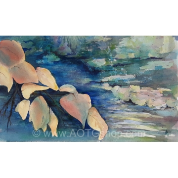Leaves Over the Creek Original Watercolor Painting by Barbara Hoffman (Local Pick-Up Only)