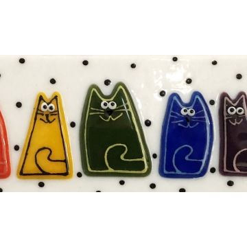 Colorful Kitties in Fused Glass by Judy Butler (Available for Shipping or Local Pick-Up)